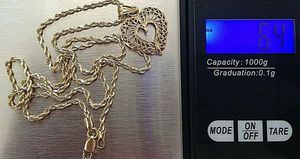 Solid Gold 14K rope chain w/heart pendant for Sale in Hastings, FL