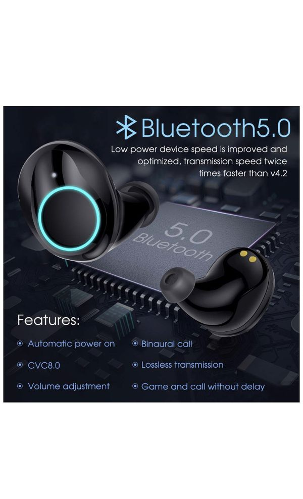 True Wireless Earbuds Bluetooth 5.0 Auto Pairing Wireless Earphones IPX7 Waterproof Sport Bluetooth Headphones with 3500Mah Charge Case and Mic HD Ca