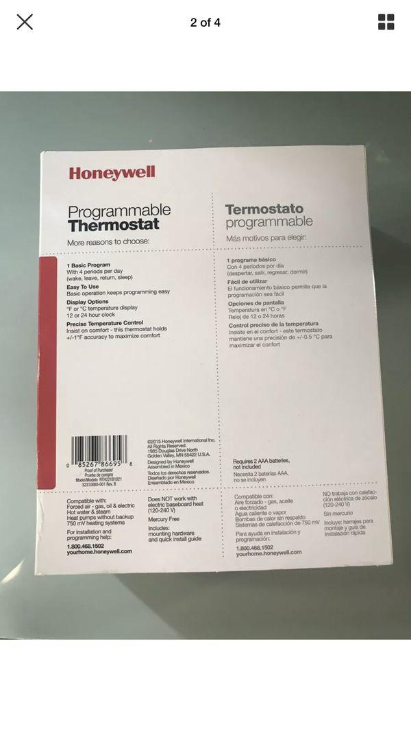 Honeywell Programmable Thermostat Set Point 1 Week, Heat & Cool 24 V