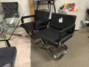 2pc modern black leatherette Direction dining or lounge chairs for Sale in Alexandria, VA