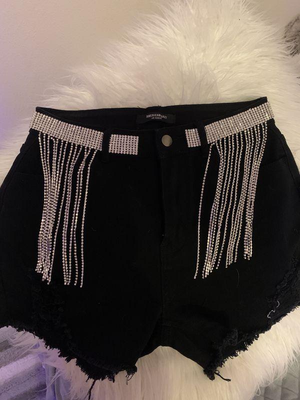 Rhinestone fringe shorts