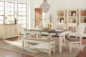 Ashley Furniture Antique White Rectangular Dining Room Set (Table, 1 Bench and 4 Chair) for Sale in Santa Ana, CA
