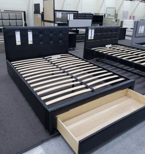 Brand New Queen Size Leather Platform Bed Frame w/Storage Drawer for Sale in Silver Spring, MD