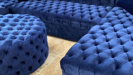 New Double Chaise Blue Velvet Sectional ❗$39 Down Payment 100 Days Same As Cash for Sale in Austin,  TX