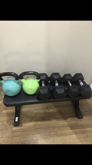 Marcy Flat Bench and pairs of 45lbs, 30lbs, and 60lbs and 70lbs kettlebells for Sale in San Gabriel, CA