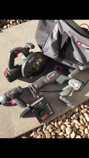 Porter cable driver/drill, circular saw, reciprocating/sawzall and flashlight with bag for Sale in Castle Rock, CO