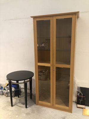 Wood glass cabinet for Sale in Santa Monica, CA