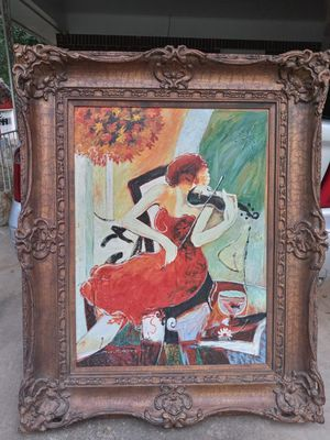 Large Abstract lady in red playing violin with solid wood frame for Sale in Stockbridge, GA