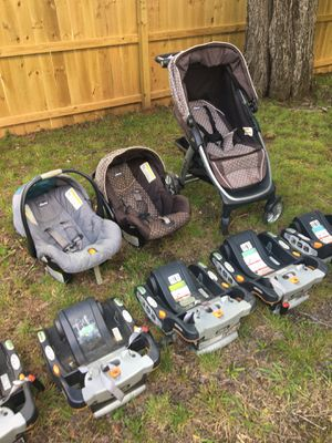 2- Chicco car seats with 5 total Chicco bases, and 1 Chicco stroller systems. for Sale in Greensboro, NC