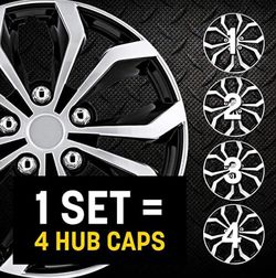 "Pilot Automotive Black/Silver 15 Inch 15"" Spyder Performance Wheel Cover Hubcaps Pack of 4 for Sale in Diamond Bar,  CA"