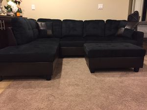 New black microfiber sectional sofa and storage ottoman with 2 free pillows! Delivery today for Sale in Portland, OR