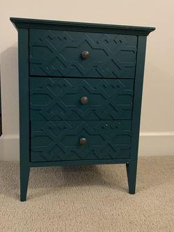 Blue Green Modern Wood Nightstand Or Side Table With Drawers for Sale in Seattle,  WA