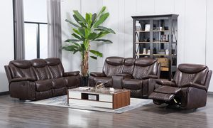 """Chanel 3pc Set (Brown)you can post these ones """" Great sale Brand New 3pc reclining set Only $39 down! No credit Check for Sale in Houston, TX"""