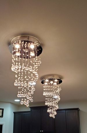 2 Crystal Glass Modern Chandeliers Ceiling Lamp for Sale in Edgewood, WA