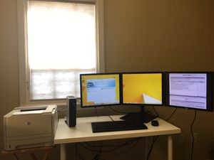 Triple Monitor Workstation & Laser Jet (Costs at least $500 if buying online) for Sale in Houston, TX