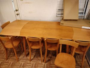 """Nice wooden dining table with 8 chairs in good condition, 2 chairs still in box. L(86/53)""""*W35""""*H29.5"""" for Sale in Annandale, VA"""