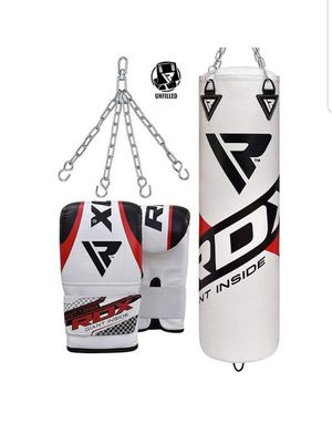 RDX Punching Bag UNFILLED Set Kick Boxing Heavy MMA Training with Gloves Punching Mitts Hanging Chain Muay Thai Martial Arts 4FT, New for Sale in Arlington Heights, IL