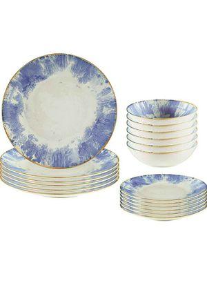Brand New Rivet Modern Reactive-Glaze Stoneware 18-Piece Dinnerware Set, Service for 6, Indigo Burst for Sale in Columbus, OH
