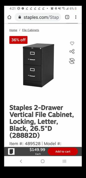 "Staples 2-Drawer Vertical File Cabinet, Locking, Letter, Black, 26.5""D New - $55 for Sale in Phoenix, AZ"