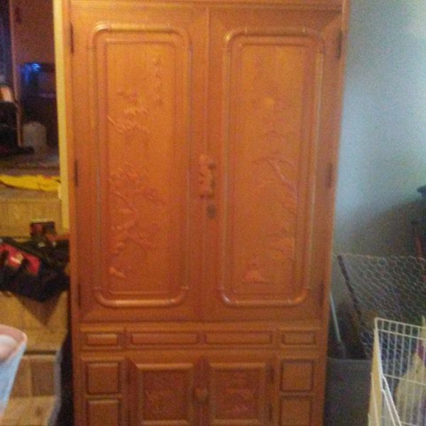 Asian Antique hand carvedtv console/wardrobe
