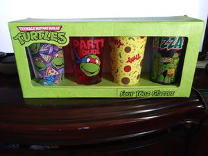 Set of four Ninja Turtle collectible glass cups for Sale in Stockton, CA