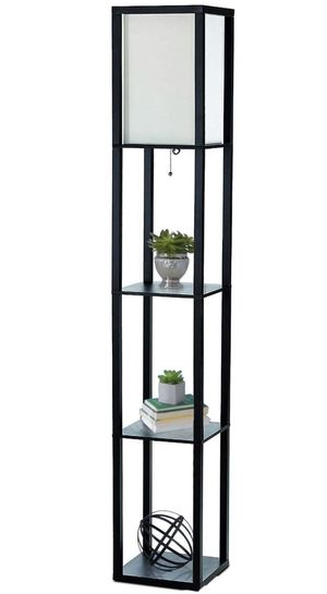 63.3 in. Etagere Black Floor Lamp Organizer Storage Shelf with Linen Shade for Sale in Sandy, UT