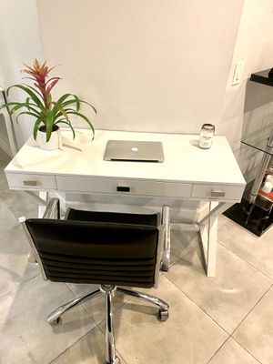 Brand new sleek white modern 3 drawer desk with leather and chrome chair for Sale in Beverly Hills, CA