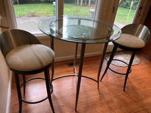 Tall Kitchen Pub Table & 2 bar high chairs by Scandinavian Design for Sale in SEATTLE, WA