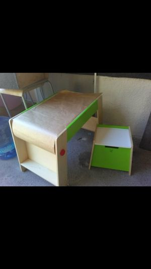 Wood drawing table a storage chair for Sale in Tampa, FL
