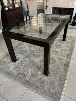 Dark Brown Rectangular Glass Top Wood Frame Dining Table for Sale in Ontario, CA