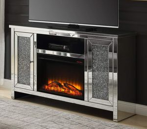 GLAM STYLE Mirrored TV Stand LED Fireplace & Faux Diamonds for Sale in Rancho Cucamonga, CA