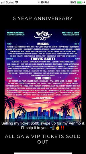 Rolling loud ticket for Sale in Tallahassee, FL