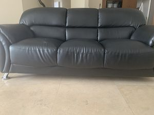 Modern Black Leather Sofa for Sale in Hollywood, FL