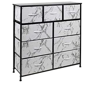 Dresser with 9 Drawers - Furniture Storage Chest Tower Unit for Bedroom, Hallway, Closet, Office Organization - Steel Frame, Wood Top, Fabric Bins (9 for Sale in Scottsdale, AZ