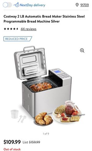 Costway 2 LB Automatic Bread Maker Stainless Steel Programmable Bread Machine Silver ( price is firm don't message me for lower offer) for Sale in Chino Hills, CA