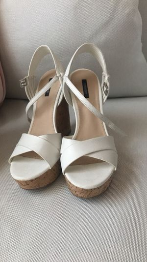 White leather cork wedges, Forever 21 for Sale in Denver, CO