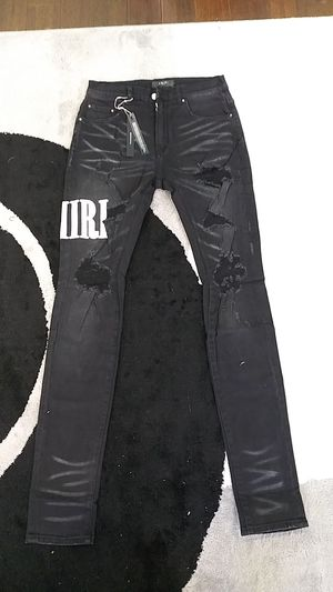Amiri ripped patch big letter jeans pants skinny black wash size 32 for Sale in Orinda, CA