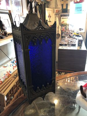 5.5x5.5x15 Antique vintage cobalt blue metal hanging lamp. Taken out of church in MISSISSIPPI. 85.00. 212 north Main Street Buda Johanna 🎅🏼furniture for Sale in Buda, TX