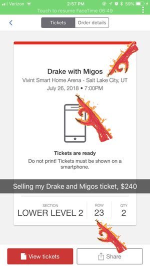 DRAKE AND MIGOS TICKET (1) for Sale in Salt Lake City, UT