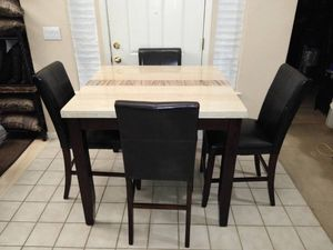 High Bar Kitchen Table Faux Marble Wood + 4 Espresso Brown Leather Chairs for Sale in Elk Grove, CA