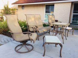 6piece cast iron patio set, two revolving chairs, one double seat rocking chair for Sale in Cypress, CA