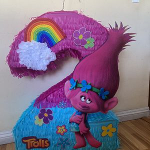 Queen Poppy Trolls Number Two second birthday pinata for Sale in Montclair, CA
