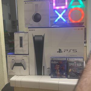 Playstation 5 Brand New Bundle W Reciept + Lights + Games + Headphones for Sale in Miami, FL