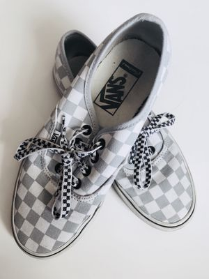 Grey and white checkered boys vans shoes size 5 for Sale in Clermont, FL