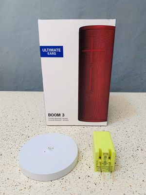 3 Items ITEMS 1) Speaket Boom 3 Sunset Red. 2) UE Wireless Charger 3) wall charger. The Speaker just include the micro usb charger. for Sale in Lewisville, TX