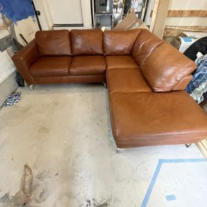 Brown L- Style Leather Couch Sofa for Sale in Seattle, WA