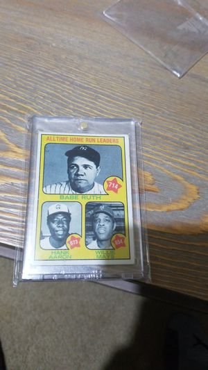 Baseball card- babe ruth, hank aaron, Willie May's home run leaders for Sale in Roseburg, OR