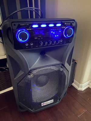 Portable powered speaker battery and AC power led eq echo mic for Sale in Rancho Cucamonga, CA