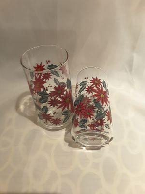 Set of four vintage poinsettia glasses for Sale in Houston, TX