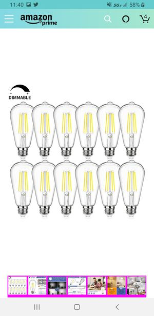 12Packs Vintage LED Edison Bulbs, 60W Equivalent 7W, 800Lumens, Dimmable ST64 Antique LED F for Sale in Las Vegas, NV